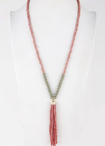 Beaded Tassel Necklace in Gold and Pink