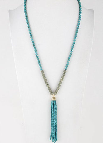 Beaded Tassel Necklace in Gold and Turquoise