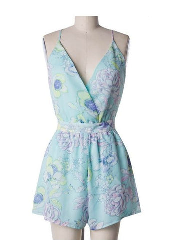 Mint Floral Spaghetti Strap Romper with Open Back