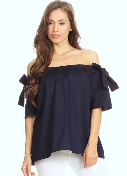 Navy Off The Shoulder Bow Sleeve Top