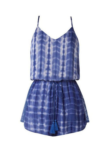 Blue Tie Dye Spaghetti Strap Romper with Crochet Back