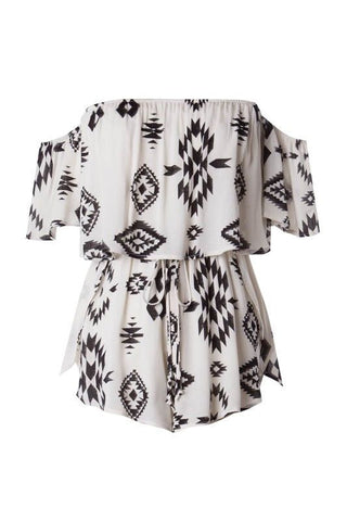 Ivory and Black Off The Shoulder Romper