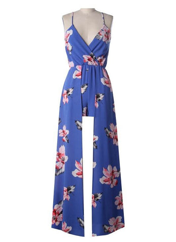 Blue Floral Spaghetti Strap Romper with Train