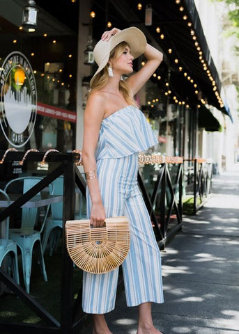 Blue and Cream Stripe Flowy Tube Top and High Waisted Gaucho Pant Set