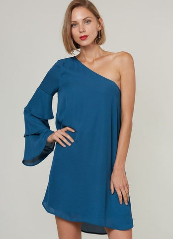 """Avalon"" One Shoulder Ruffle Sleeve Dress in Teal"
