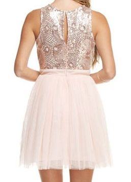 rose gold fit n flare sequin tulle dress hattie s branches boutique