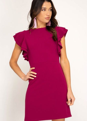 Magenta Ruffle Sleeve Dress