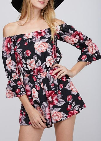 """Ashley"" Off The Shoulder Romper in Black Floral"