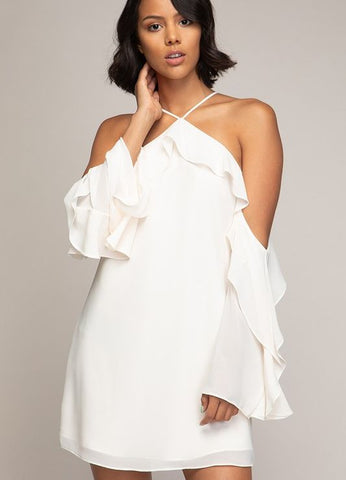 Cold Shoulder Cross Front Long Sleeve Ruffle Dress in Ivory