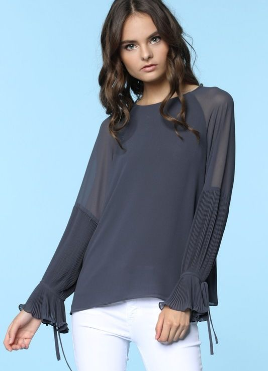 Charcoal Sheer Shoulder Accordion Bell Sleeve Blouse