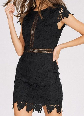 Black Crochet Lace Cap Sleeve Cocktail Dress