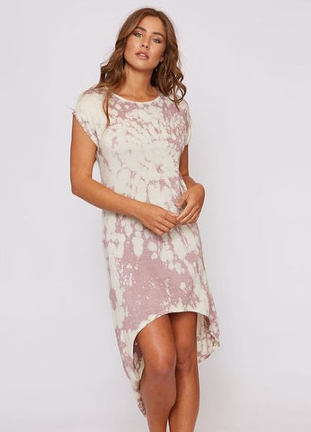 """Jasper"" Tie Dye Hi-Lo Midi Dress in Cream/Mauve"
