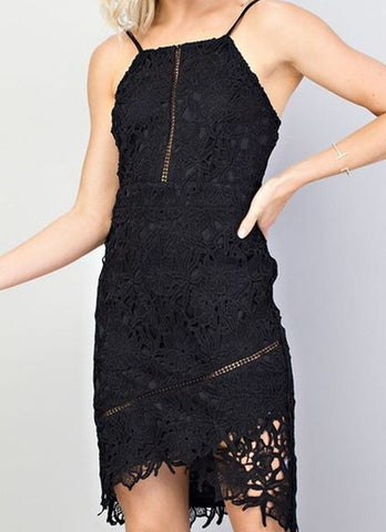 Black Crochet Lace Cocktail Dress with Asymmetrical Hem