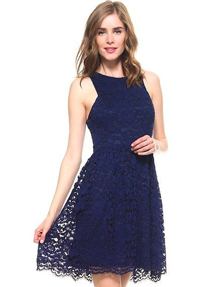 Navy Lace Fit and Flare Dress