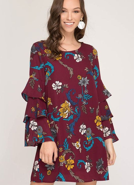 1b3eecb70ae7a Burgundy Floral Print Long Layered Bell Sleeve Dress – Hattie's Branches  Boutique