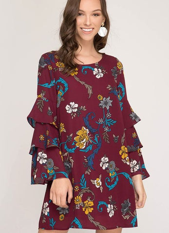 Burgundy Floral Print Long Layered Bell Sleeve Dress