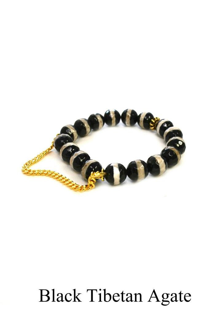 Betsy Pittard Single Chain Beaded Bracelet in Black Tibetan Agate