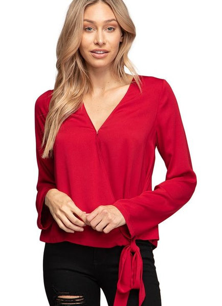 Red Long Sleeve Wrap Blouse with Side Tie