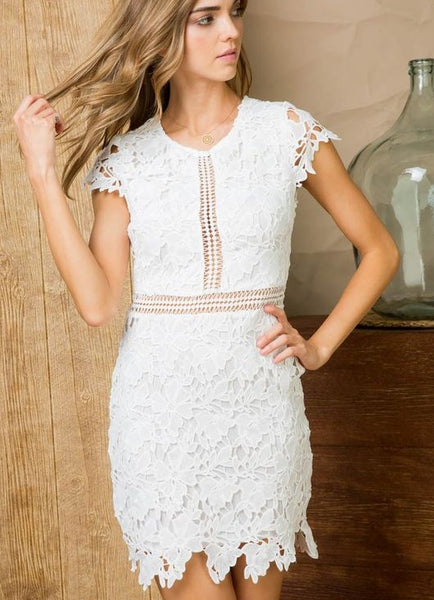 White Crochet Lace Cap Sleeve Cocktail Dress