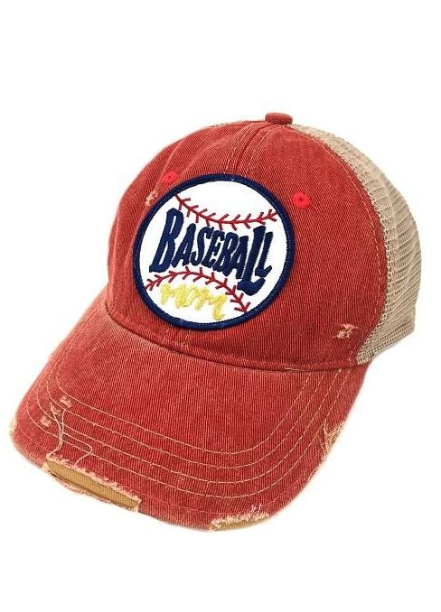 "Judith March Red Hat with ""Baseball Mom"" Patch"