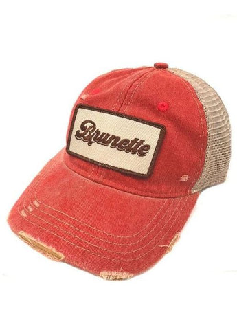 "Judith March Red Hat with ""Brunette"" Patch"