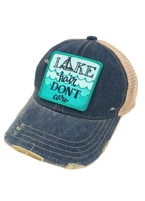 "Judith March Blue Hat with ""Lake Hair Don't Care"" Patch"