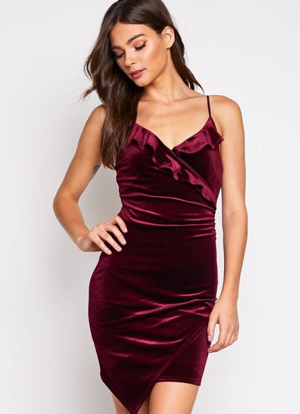 Velvet Bodycon Dress in Burgundy