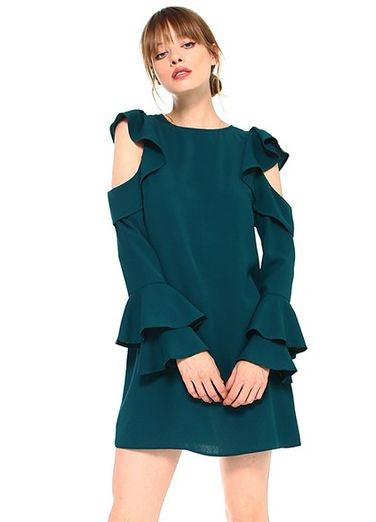 Ruffled Cold Shoulder Dress with Tiered Bell Sleeves in Hunter Green