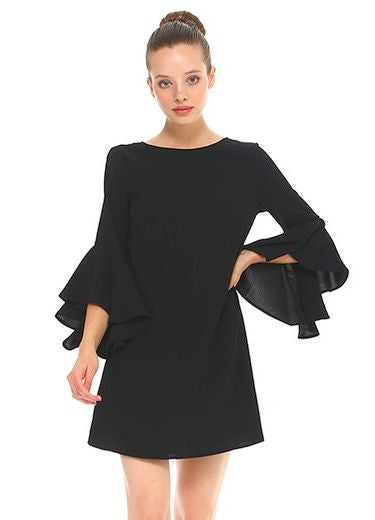 Black Trumpet Sleeve Dress With Open V Back Hatties Branches Boutique