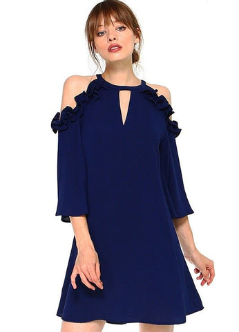 Ruffled Cold Shoulder Dress in Navy