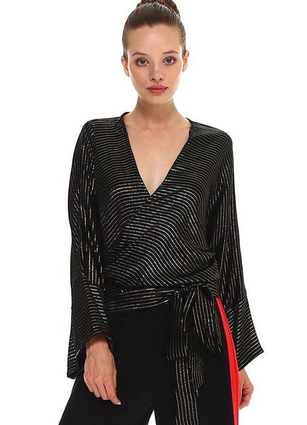 Black Wrap Kimono Sleeve Blouse with Gold Lamé Stripes
