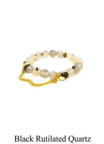 Betsy Pittard Single Chain Beaded Bracelet in Black Rutilated Quartz