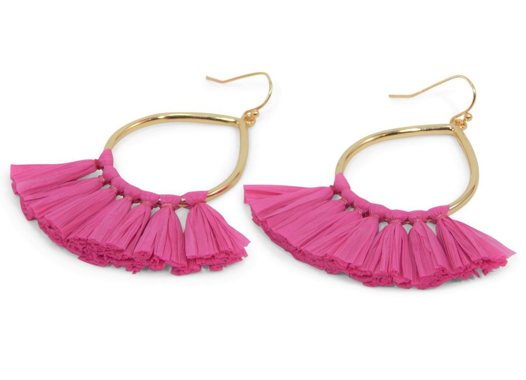 Pink Tassel Earrings by Erimish - A
