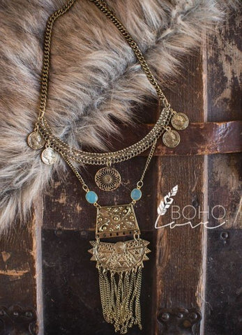 Chunky Gold Tribal Statement Necklace
