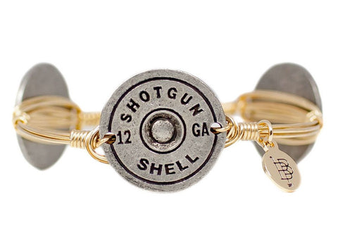 Bourbon and Boweties ™ Shotgun Shell (Pewter) on Gold Wire Bangle