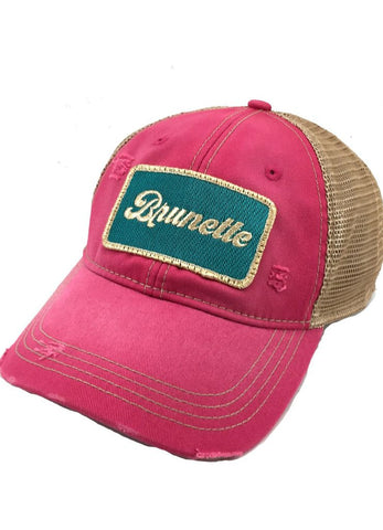Judith March Fuchsia Hat with Metallic 'Brunette' Patch