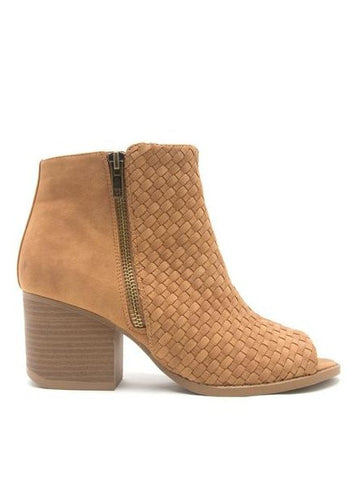 """Core-20"" Open-Toe Basket Weave Bootie in Tan"