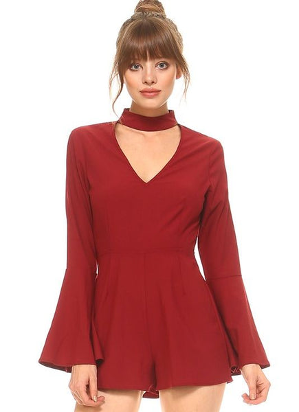 Choker Collar with Key Hole Bell Sleeve Romper in Burgundy
