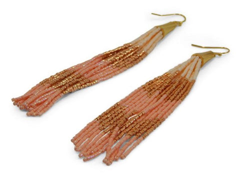 Coral Tassel Earrings by Erimish - 3