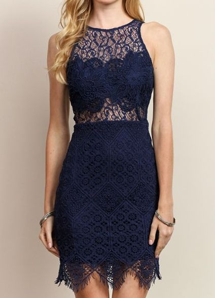 Navy Lace Sleeveless Cocktail Dress