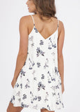 Grey Floral Criss Cross Front Spaghetti Strap Swing Dress with Pockets