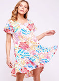 Floral 'Cristina' Dress with Ruffle Sleeves