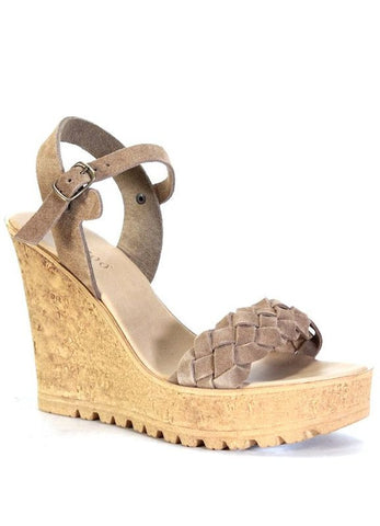 """Norra"" Braided Suede Leather Wedge"