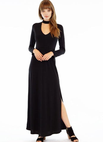 Black Keyhole Front Long Sleeve Maxi Dress with Side Slit