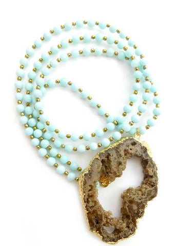 Betsy Pittard 'Jessica' Necklace in Light Blue Dyed Jade