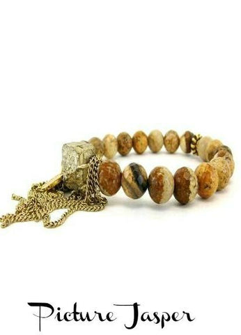 Betsy Pittard 'Dan' Beaded Tassel Bracelet in Picture Jasper