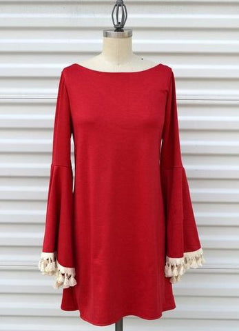 Judith March Long Bell Sleeve Ponty (Red) Dress with Cream Tassel Trim