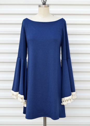Judith March Long Bell Sleeve Ponty (Navy) Dress with Cream Tassel Trim