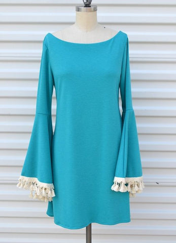 Judith March Long Bell Sleeve Ponty (Teal) Dress with Cream Tassel Trim