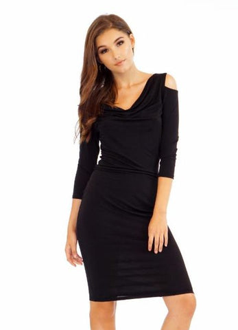 Black Cowl Neck Cold Shoulder Bodycon Dress by Veronica M.
